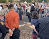 Hands Up, Don't Sing:  Idaho Nazi Brownshirt Cops Arrest Christians While Singing Hymns For Violation Of Unconstitutional Mask Order