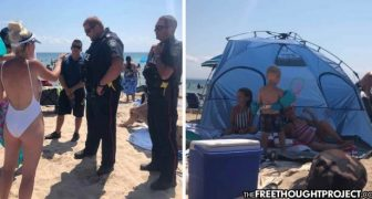 "Hero Cops ""Protect"" Public By Kicking Family Off Beach For Shading Kids With Tent"